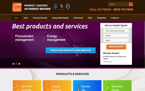 Screenshot of Home Page catalyst-commercial.co.uk - Catalyst Commercial - Energy Brokers UK - captured Sept. 19, 2014