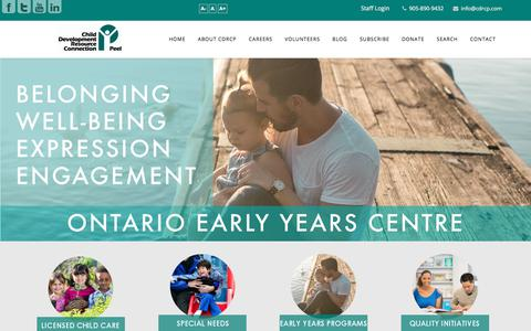 Screenshot of Home Page cdrcp.com - Call us at (905) 890-9432 - Child Development Resource Connection Peel - CDRCP - captured July 8, 2017