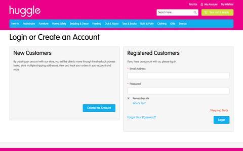 Screenshot of Login Page huggle.co.uk - Customer Login - captured July 18, 2016