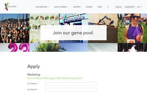 Screenshot of Jobs Page 23andme.com captured May 22, 2018