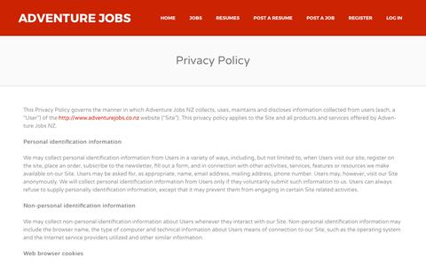 Screenshot of Privacy Page adventurejobs.co.nz - Privacy Policy | Adventure Jobs - captured Oct. 7, 2017