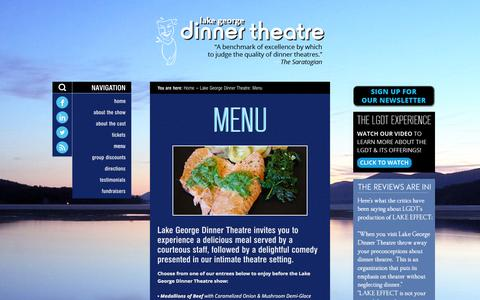 Screenshot of Menu Page lakegeorgedinnertheatre.com - Lake George Dinner Theatre: Menu | Lake George Dinner Theatre - captured Sept. 29, 2014