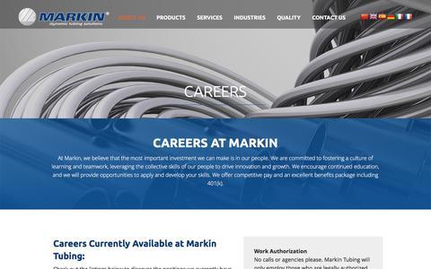 Screenshot of Jobs Page markin.com - Steel Tube Manufacturing Jobs in Buffalo NY: Careers at Markin Tubing - captured Feb. 12, 2016