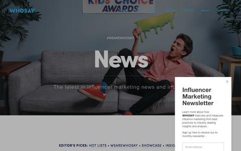 Screenshot of Press Page whosay.com - News — WHOSAY - captured Sept. 21, 2018