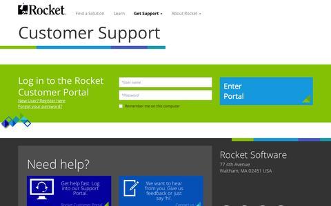 Screenshot of Login Page rocketsoftware.com - Customer Support | Rocket Software - captured Nov. 10, 2015