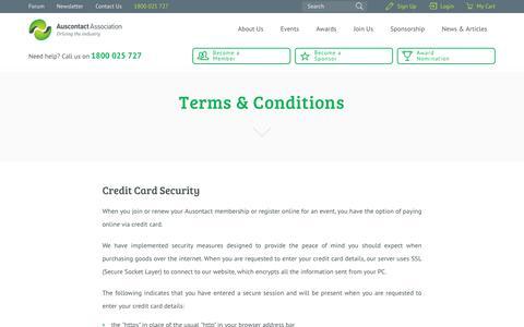 Screenshot of Terms Page auscontact.com.au - Terms & Conditions - Auscontact Association Ltd - captured Feb. 2, 2016