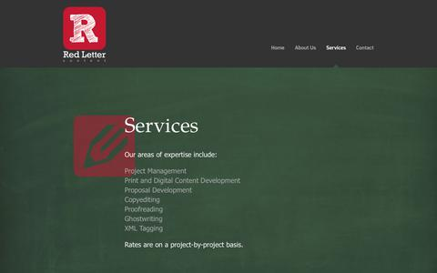 Screenshot of Services Page redlettercontent.com - Red Letter Content - captured June 12, 2017