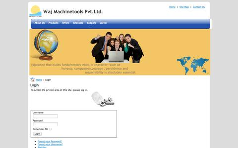 Screenshot of Support Page vrajmachinetools.com - Login - captured Oct. 7, 2014