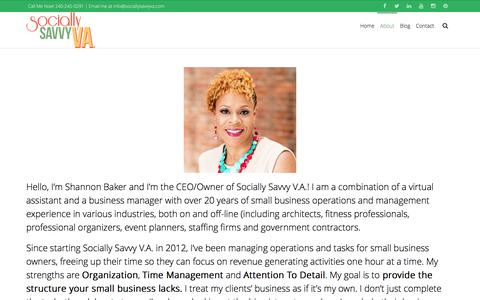 Screenshot of About Page sociallysavvyva.com - Virtual Business Manager & Virtual Assistant - captured Aug. 18, 2016