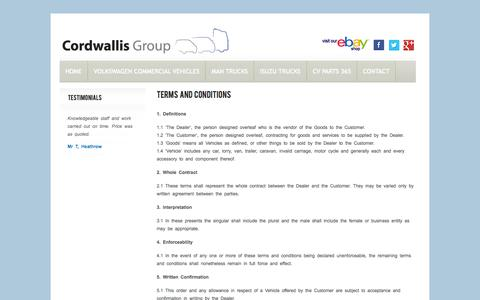 Screenshot of Terms Page cordwallis.com - Terms and Conditions - captured Oct. 2, 2014