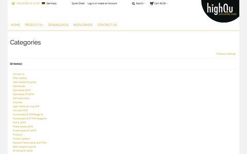 Screenshot of Site Map Page highqu.com - highQu GmbH |  Site Map - captured Oct. 3, 2014