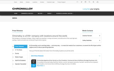 Screenshot of Press Page chromalloy.com - Media | Press Releases | Chromalloy - captured Dec. 8, 2015