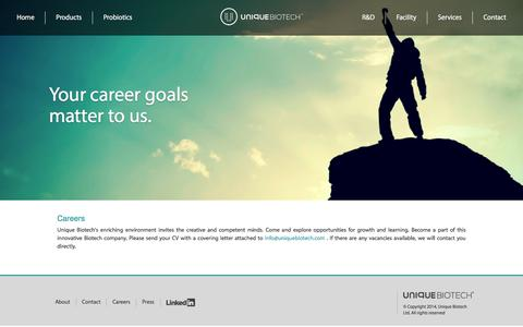 Screenshot of Jobs Page uniquebiotech.com - Careers | Unique Biotech - captured Aug. 12, 2016