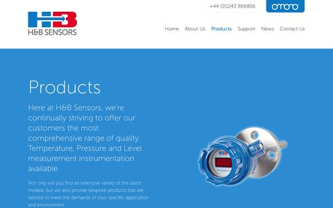 Screenshot of Products Page hbsensors.com - Comprehensive range of Temperature, Level and Pressure Measurement Instrumentation - H&B Sensors - captured Oct. 27, 2014