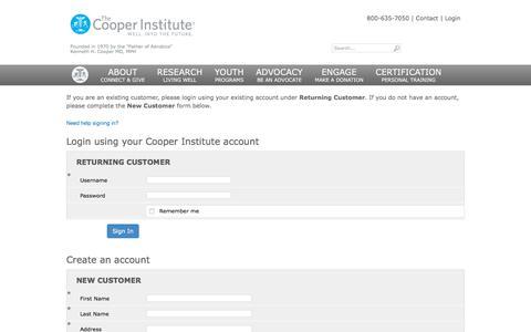 Screenshot of Login Page cooperinstitute.org - - Cooper Institute - captured Nov. 30, 2019