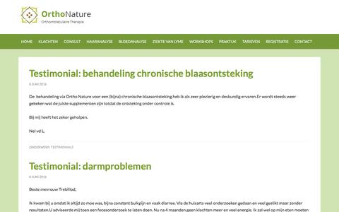 Screenshot of Testimonials Page orthonature.nl - Testimonials Archives - Orthonature - captured Jan. 28, 2017