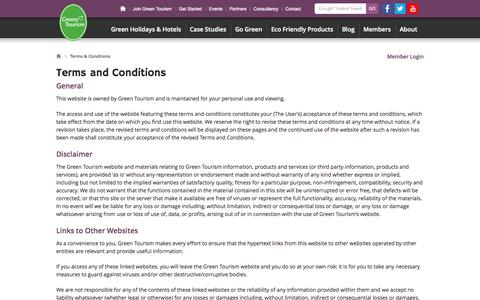 Screenshot of Terms Page green-tourism.com - Green Tourism  |  Terms & Conditions - captured Sept. 24, 2014