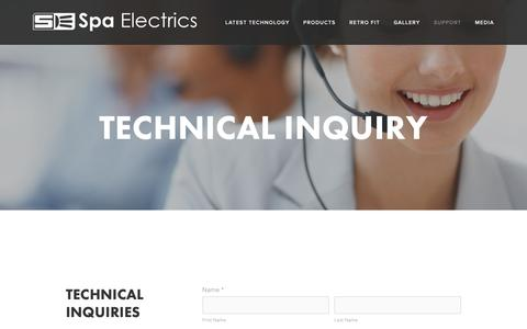 Screenshot of Support Page spaelectrics.com.au - Technical Inquiry — Spa Electrics - captured Oct. 19, 2018