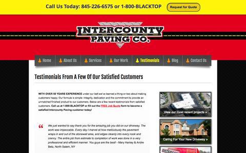 Screenshot of Testimonials Page blacktopit.com - Testimonials | Intercounty Paving Company - captured Oct. 6, 2014