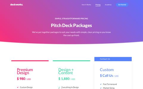 Screenshot of Pricing Page deckworks.co - DeckWorks: Pitch Deck Pricing - captured Nov. 30, 2017