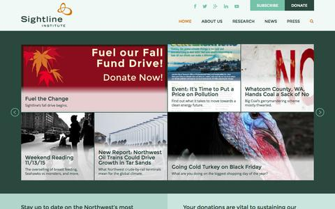 Screenshot of Home Page sightline.org - Sightline Institute | News & Views for a Sustainable Northwest - captured Nov. 19, 2015
