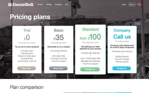 Screenshot of Pricing Page geniebelt.com - GenieBelt - Pricing - captured May 6, 2016