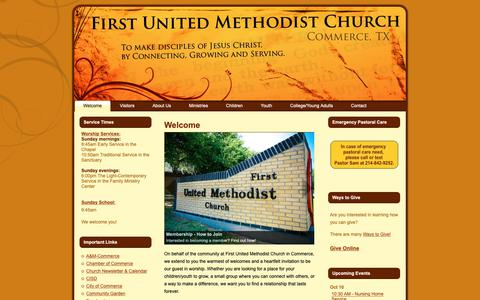 Screenshot of Home Page fumccommerce.org - First United Methodist Church – Commerce, TX: Welcome - captured Oct. 10, 2018