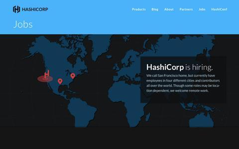 Screenshot of Jobs Page hashicorp.com - Jobs - HashiCorp - captured Dec. 7, 2015