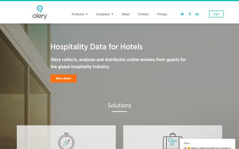 Screenshot of Home Page olery.com - Olery - Travel & Hotel Data Specialist - captured Nov. 4, 2018
