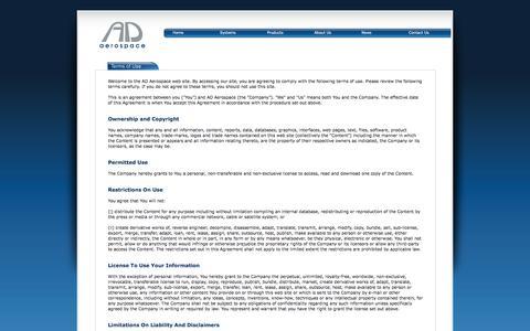 Screenshot of Terms Page ad-aero.com - AD Aerospace : Terms of Use - captured Feb. 4, 2016