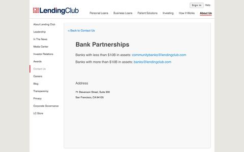 Bank Partnerships Contact Us - Lending Club