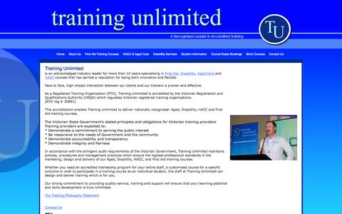 Screenshot of About Page trainingunlimited.com.au - Training Unlimited | Training in Community Services & First Aid - captured Oct. 7, 2014