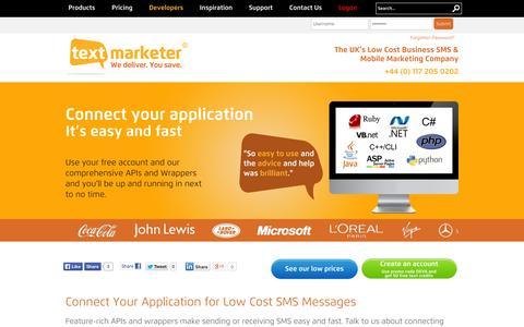 Screenshot of Developers Page textmarketer.co.uk - SMS Gateway API | Text Marketer - captured Oct. 26, 2014