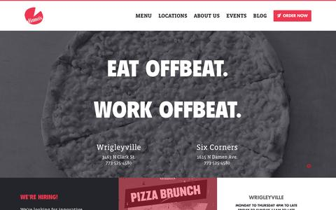 Screenshot of Home Page dimospizza.com - Dimo's Pizza - captured Jan. 7, 2016