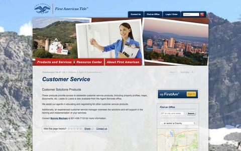 Screenshot of Support Page firstam.com - Customer Service - First American Title Insurance - Utah - Products - Agent - captured Nov. 12, 2017