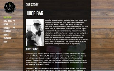 Screenshot of About Page ilovejuicebar.com - Our Story | I Love Juice Bar - captured Feb. 11, 2016