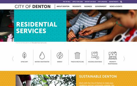 Screenshot of Services Page cityofdenton.com - Residential Services | City of Denton - captured July 18, 2018