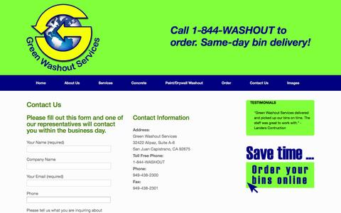 Screenshot of Contact Page greenwashoutservices.com - Contact Us | Green Washout Services - captured Sept. 30, 2014