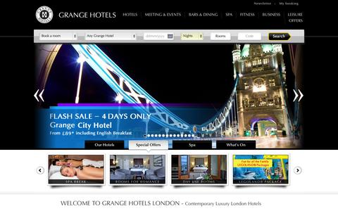 Screenshot of Home Page grangehotels.com - Grange Hotels London | 4 & 5 star Accommodation London - captured Sept. 22, 2014