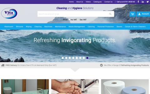 Screenshot of Home Page vitadirectuk.com - Cleaning and Hygiene Solutions | Vita Direct - captured Nov. 30, 2016