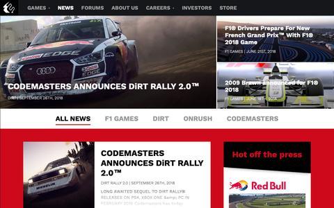 Screenshot of Press Page codemasters.com - News - Codemasters - Racing Ahead - captured Sept. 28, 2018