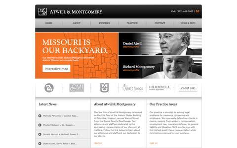 Screenshot of Home Page atwillmontgomerylaw.com captured Oct. 4, 2014