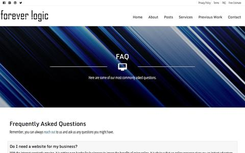 Screenshot of FAQ Page foreverlogic.com - FAQ | Forever Logic - captured Aug. 4, 2016