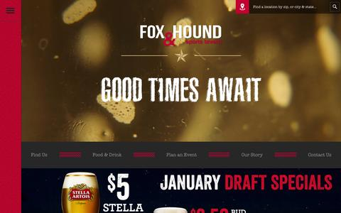 Screenshot of Home Page foxandhound.com - Fox & Hound  Sports Tavern - captured Jan. 20, 2016