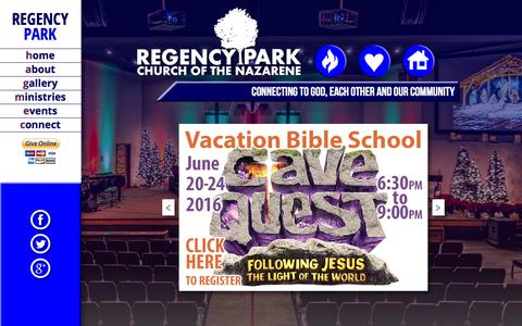 Screenshot of Home Page About Page regencypark.org - Welcome to Regency Park Church of the Nazarene - captured June 18, 2016