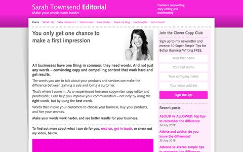 Screenshot of Home Page sarahtownsendeditorial.co.uk - Sarah Townsend, Gloucestershire-based marketing copywriter. Hello! - captured July 26, 2018