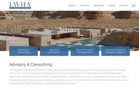 Screenshot of Services Page lwhospitalityadvisors.com - Services - LWHA - Hospitality Advisors - captured Sept. 26, 2018