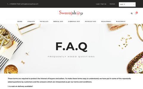 Screenshot of FAQ Page swarajshop.com - F.A.Q – Swarajshop – Artificial Necklace Set   imitation Jewellery Necklace Set   Traditional Jewellery - captured Nov. 16, 2018