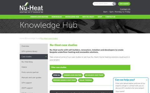 Screenshot of Case Studies Page nu-heat.co.uk - Alternative ways to heat homes | Case Studies | Nu-Heat - captured March 29, 2019