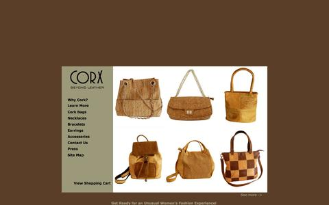 Screenshot of Home Page corx.com - Designer Ladies Handbags : Unique Cork Handbags : Luxury Vegan Handbags : Unusual Shoulder Bags : Womens Jewelry : Necklaces : Earrings - captured Sept. 23, 2014